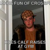Makes fun of crossfit does calf raises at gym 802c4a