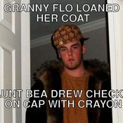 Granny flo loaned her coat aunt bea drew checks on cap with crayon 9ab899