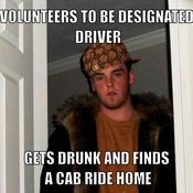 Volunteers to be designated driver gets drunk and finds a cab ride home 1da3ed