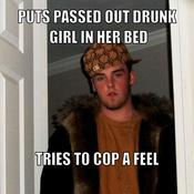 Puts passed out drunk girl in her bed tries to cop a feel 02714b