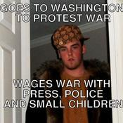 Goes to washington to protest war wages war with press police and small children 14725f