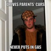 Drives parents cars never puts in gas 618bef