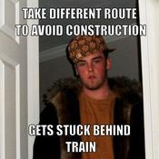 Take different route to avoid construction gets stuck behind train 9af0b6