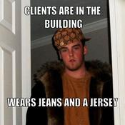 Clients are in the building wears jeans and a jersey bfb486