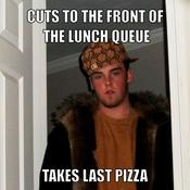 Cuts to the front of the lunch queue takes last pizza 2f71a4