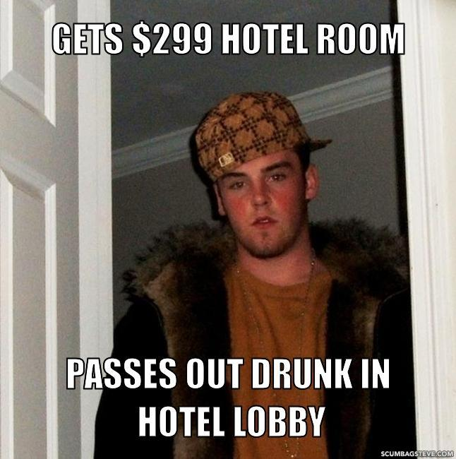 Gets 299 hotel room passes out drunk in hotel lobby eb3488