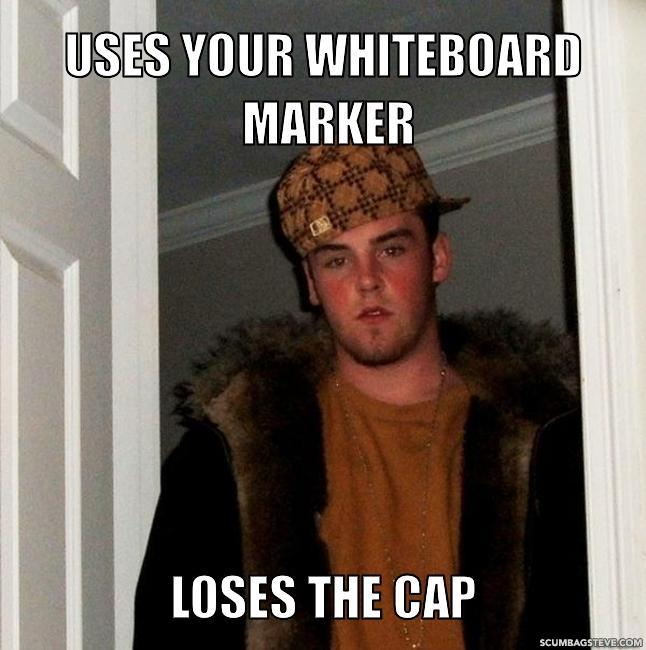 Uses your whiteboard marker loses the cap