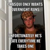 Chasqui only wants overnight runs unfortunately he s late everytime he takes one bf09a9