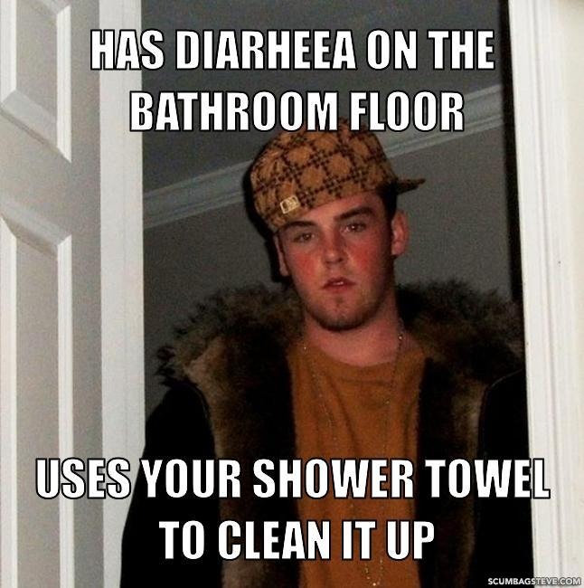 Has diarheea on the bathroom floor uses your shower towel to clean it up fa590a