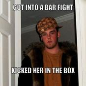 Got into a bar fight kicked her in the box 69a032