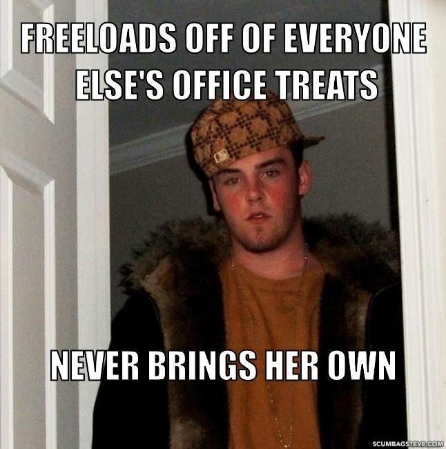 Freeloads off of everyone else s office treats never brings her own 31c077