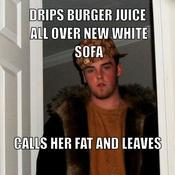 Drips burger juice all over new white sofa calls her fat and leaves 958ca1