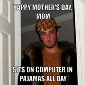 Happy mother s day mom sits on computer in pajamas all day 3c4966