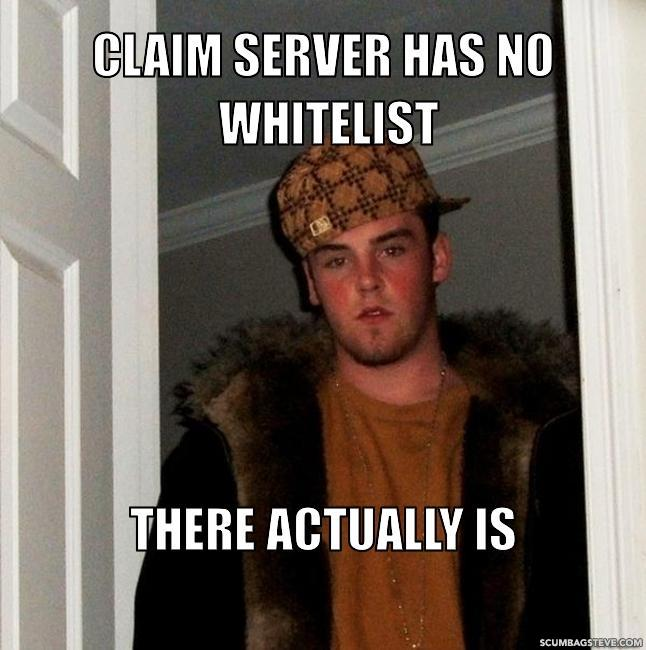 Claim server has no whitelist there actually is 54504a