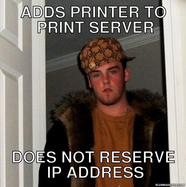 Adds printer to print server does not reserve ip address 360591