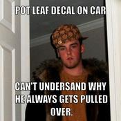 Pot leaf decal on car can t undersand why he always gets pulled over cd37e6