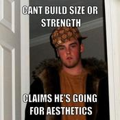 Cant build size or strength claims he s going for aesthetics bd02e7
