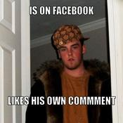 Is on facebook likes his own commment 7d7277