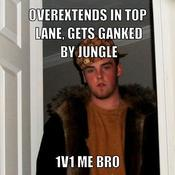 Overextends in top lane gets ganked by jungle 1v1 me bro bf92b6