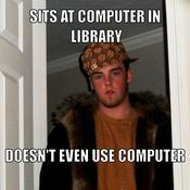 Sits at computer in library doesn t even use computer 1f2ca8