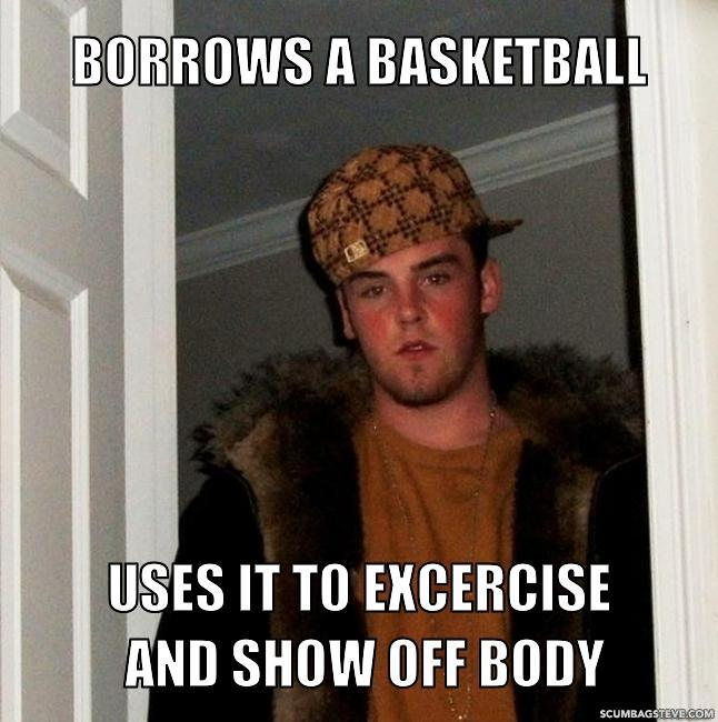 Borrows a basketball uses it to excercise and show off body 37d22c