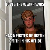 Loves the weakhawks has a poster of justin smith in his office 6e53d4