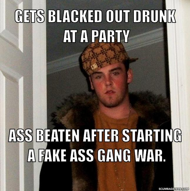 Gets blacked out drunk at a party ass beaten after starting a fake ass gang war f09866