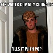 Gets water cup at mcdonald s fills it with pop