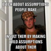 Bitch about assumptions people make insult them by making wild assumptions about them 334ad2