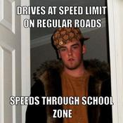 Drives at speed limit on regular roads speeds through school zone 664d2c
