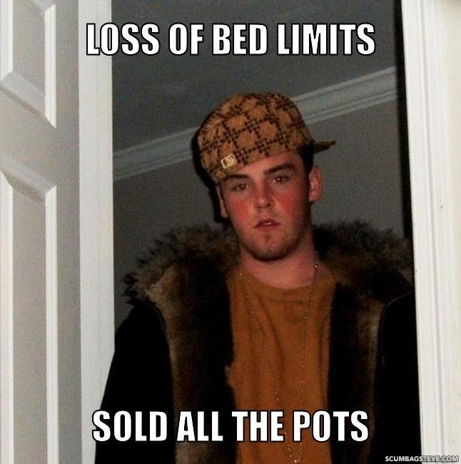 Loss of bed limits sold all the pots 00d0d3
