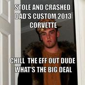 Stole and crashed dad s custom 2013 corvette chill the eff out dude what s the big deal 6901ef