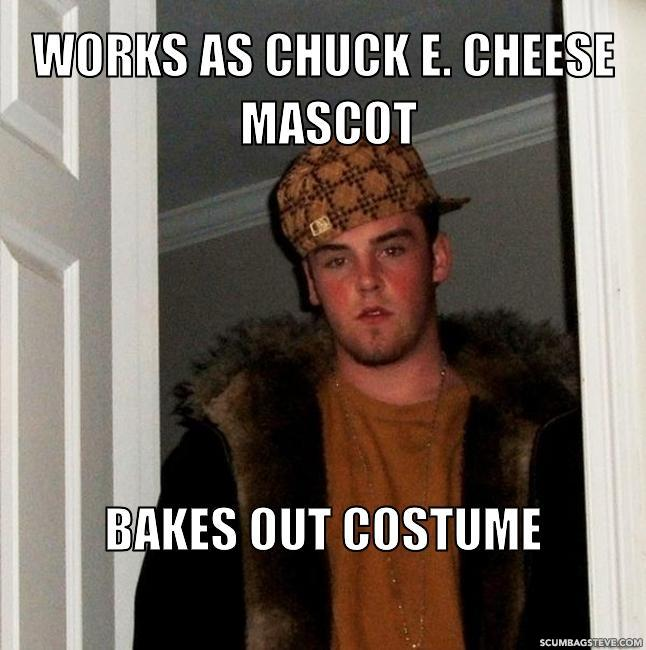 Works as chuck e cheese mascot bakes out costume e9a95a