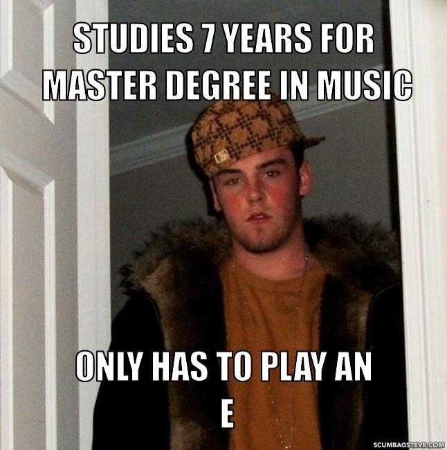 Studies 7 years for master degree in music only has to play an e 3737da