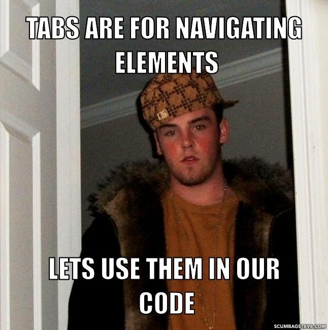 Tabs are for navigating elements lets use them in our code 6140b9
