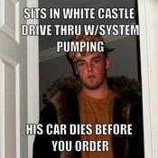 Sits in white castle drive thru w system pumping his car dies before you order 7569e5