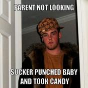 Parent not looking sucker punched baby and took candy dc4e0f