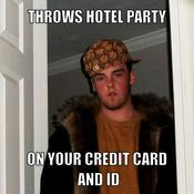 Throws hotel party on your credit card and id c02873