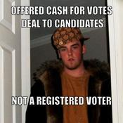 Offered cash for votes deal to candidates not a registered voter 2dbc4a