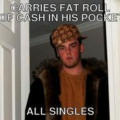 Carries fat roll of cash in his pocket all singles 46d6e3