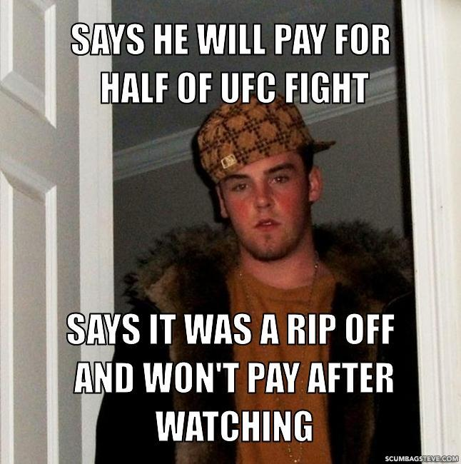 Says he will pay for half of ufc fight says it was a rip off and won t pay after watching 818dd9