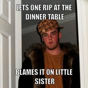 Lets one rip at the dinner table blames it on little sister fd07dd