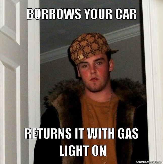 Borrows your car returns it with gas light on 696667