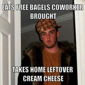 Eats free bagels coworker brought takes home leftover cream cheese 6a3546