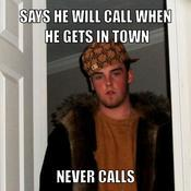 Says he will call when he gets in town never calls c00935