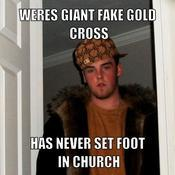 Weres giant fake gold cross has never set foot in church 6a6a1c