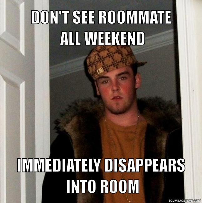 Don t see roommate all weekend immediately disappears into room fdabc0