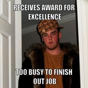Receives award for excellence too busy to finish out job 02b30e