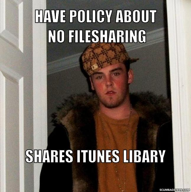Have policy about no filesharing shares itunes libary d126b5