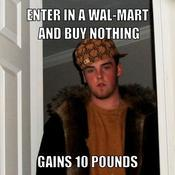 Enter in a wal mart and buy nothing gains 10 pounds f20315